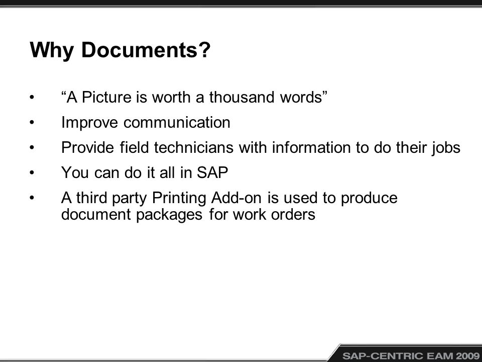 Why Documents A Picture is worth a thousand words