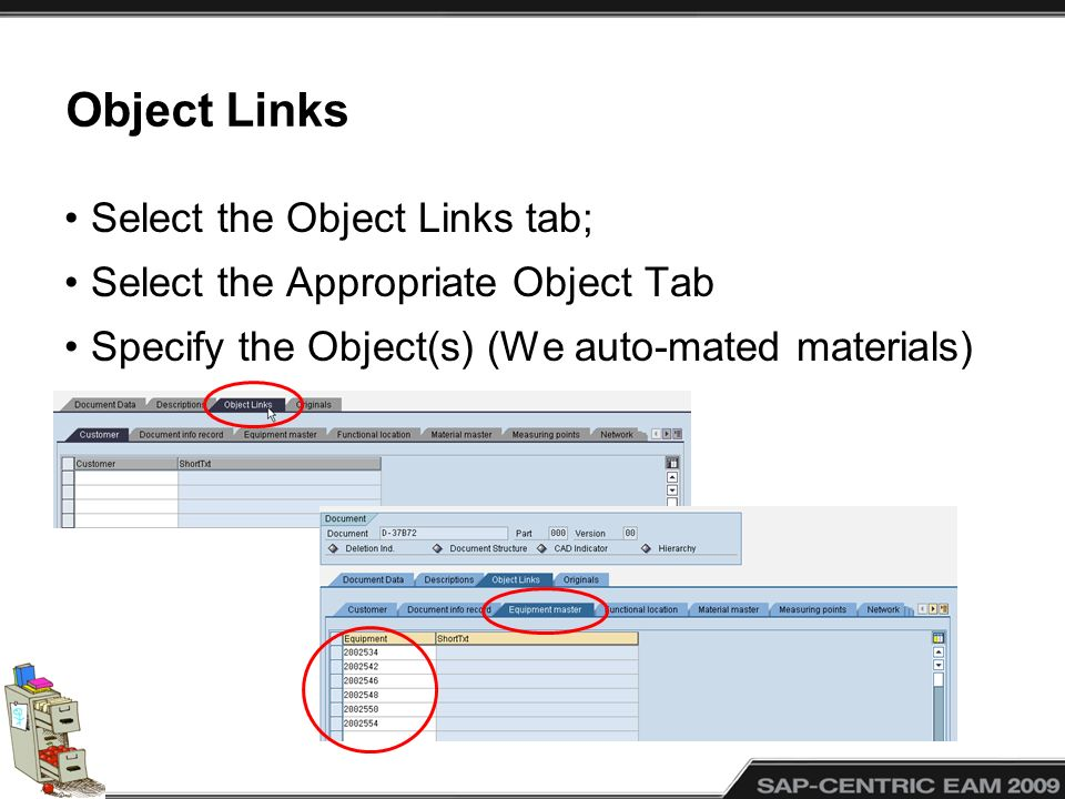 Object Links Select the Object Links tab;