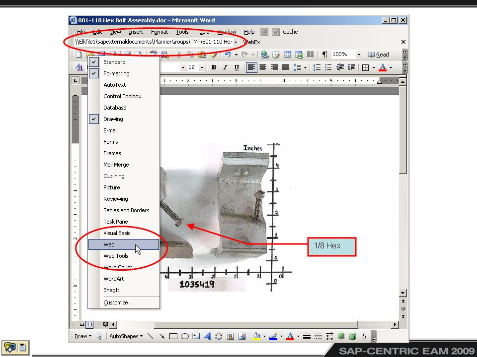 Right click toolbars to be able to activate the web toolbar in Word, Excel and PowerPoint