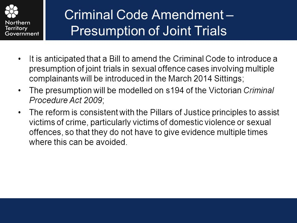 Criminal Code Amendment – Presumption of Joint Trials