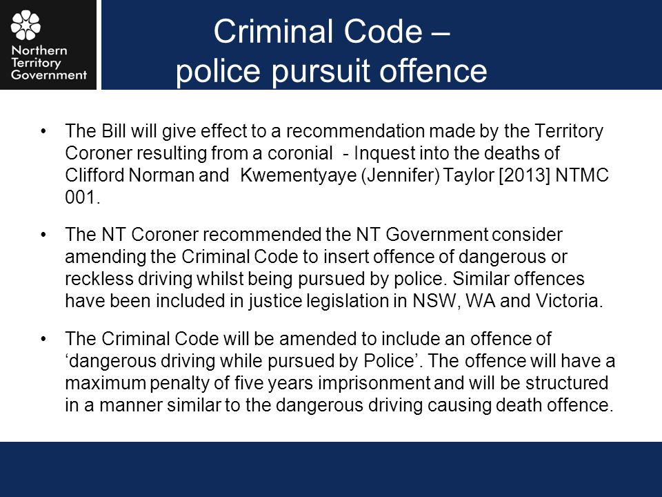 Criminal Code – police pursuit offence