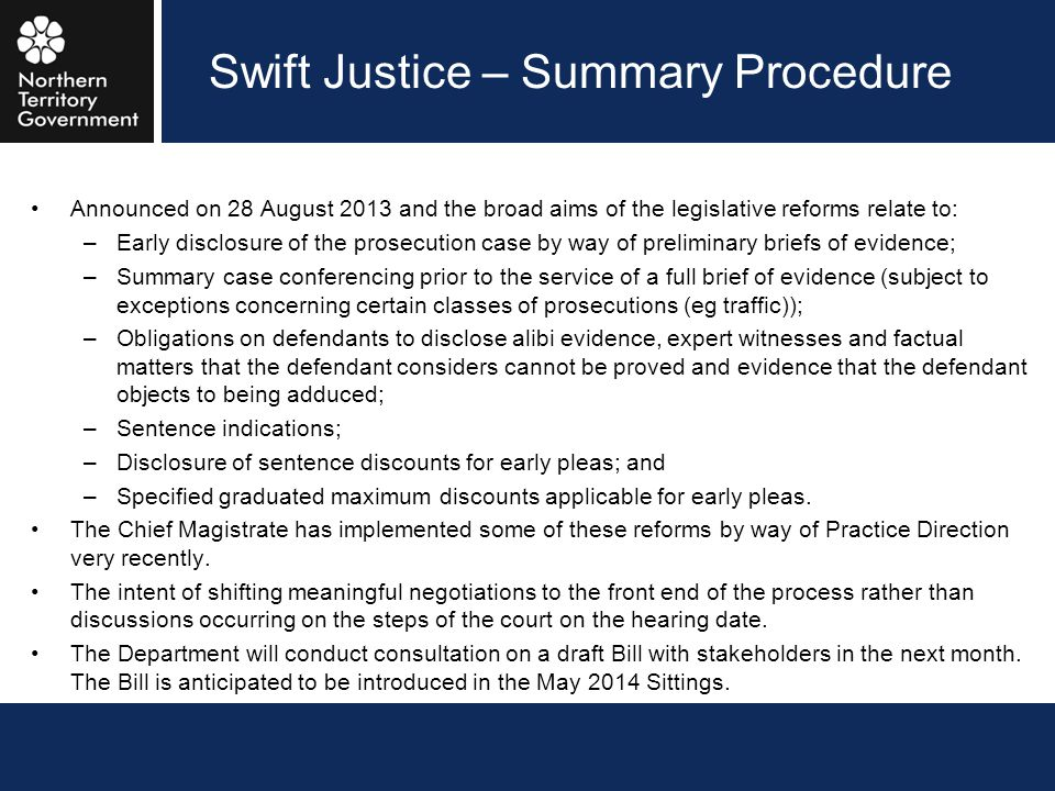 Swift Justice – Summary Procedure