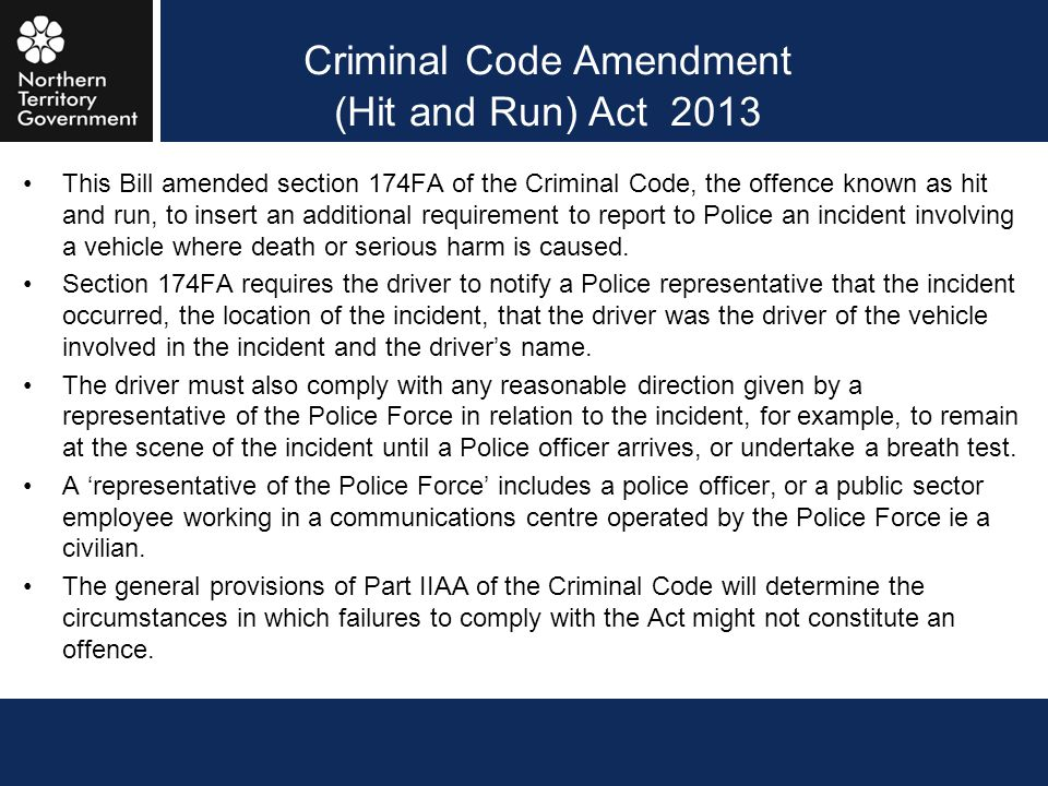 Criminal Code Amendment (Hit and Run) Act 2013