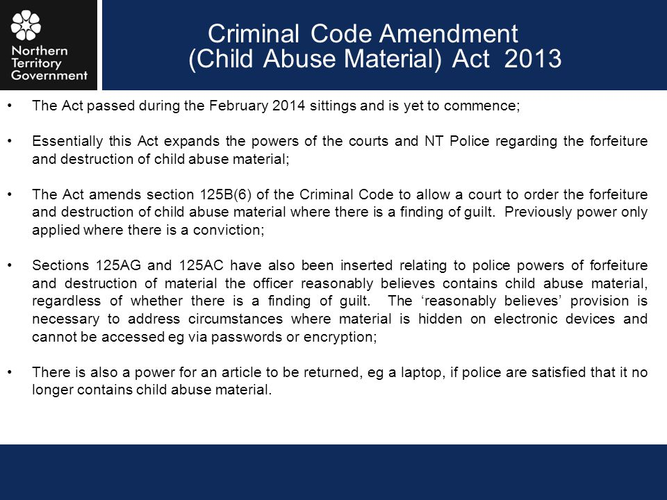 Criminal Code Amendment (Child Abuse Material) Act 2013