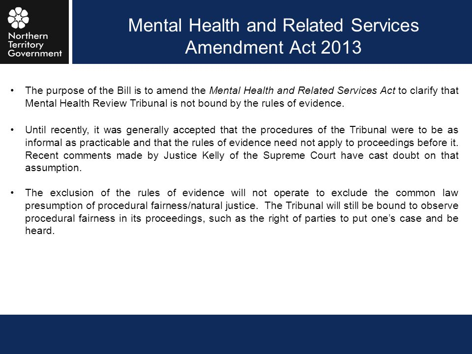 Mental Health and Related Services Amendment Act 2013
