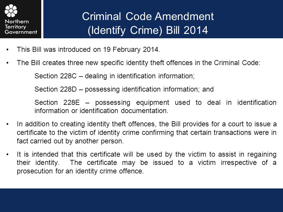 Criminal Code Amendment (Identify Crime) Bill 2014