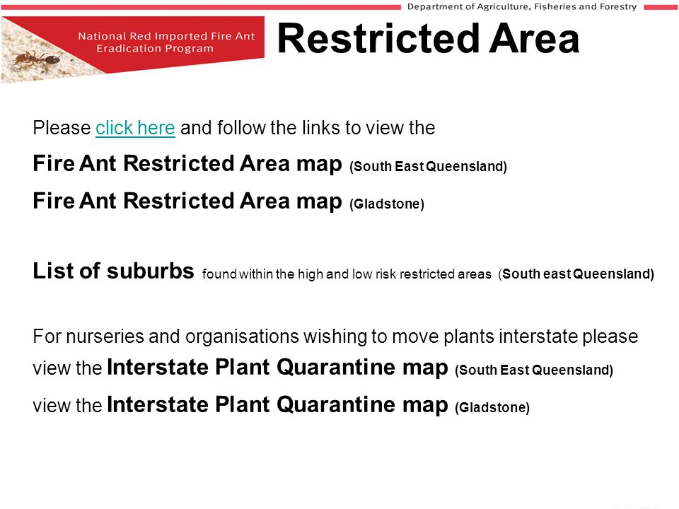 Restricted Area Fire Ant Restricted Area map (Gladstone)