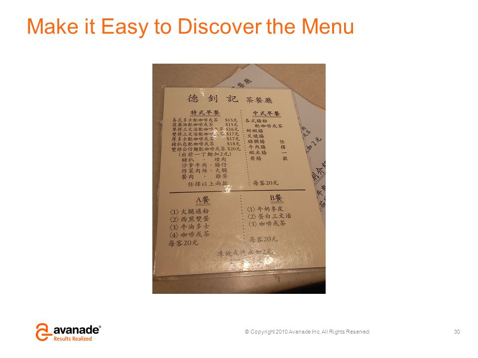 Make it Easy to Discover the Menu