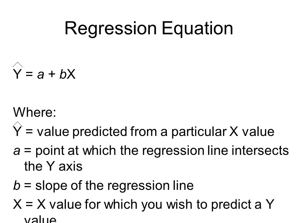 Regression Equation Y = a + bX Where: