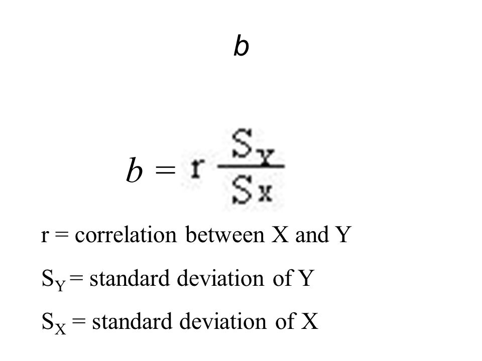 b = b r = correlation between X and Y SY = standard deviation of Y