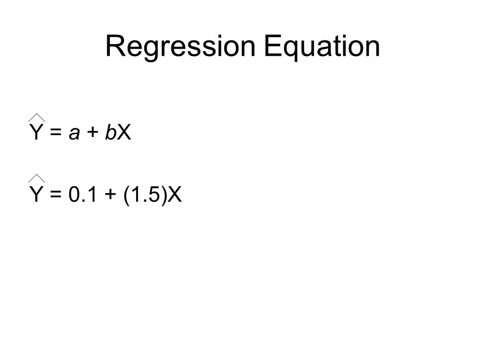 Regression Equation Y = a + bX Y = 0.1 + (1.5)X
