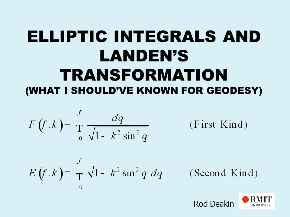 ELLIPTIC INTEGRALS AND LANDEN'S TRANSFORMATION