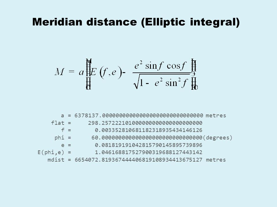Meridian distance (Elliptic integral)