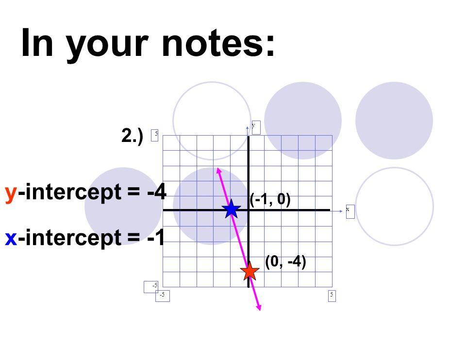 In your notes: y-intercept = -4 x-intercept = -1 2.) (-1, 0) (0, -4) y