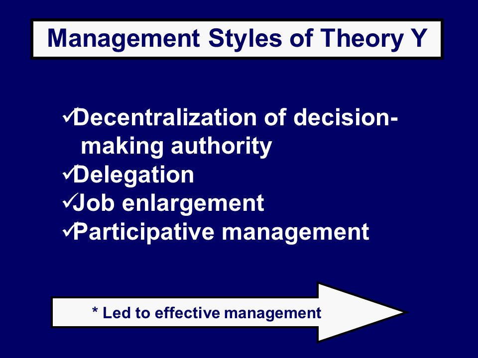 Management Styles of Theory Y * Led to effective management