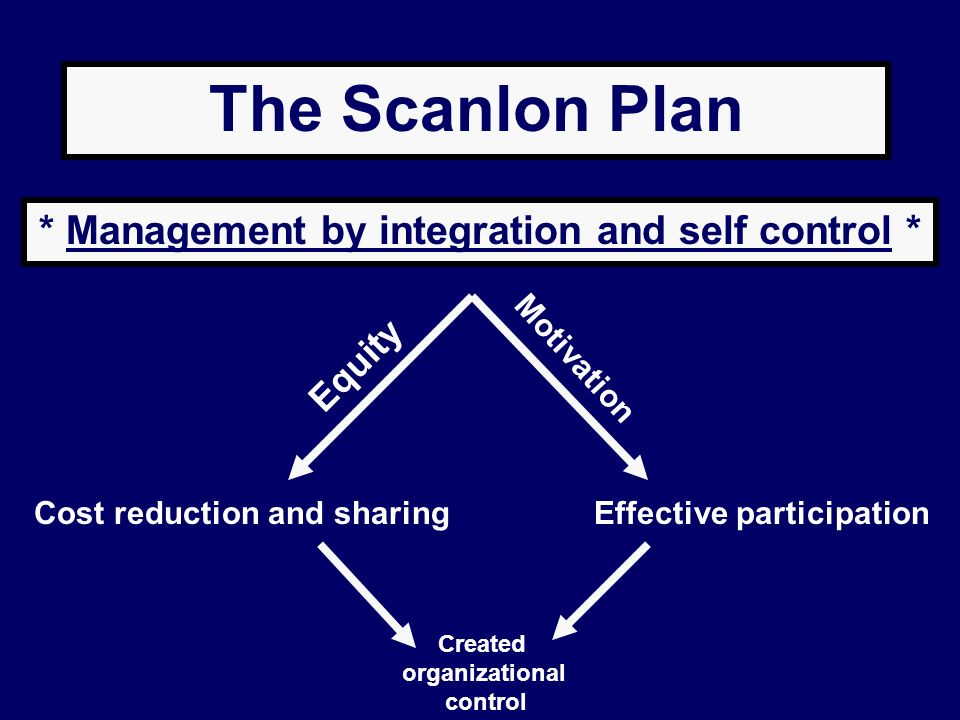 * Management by integration and self control *