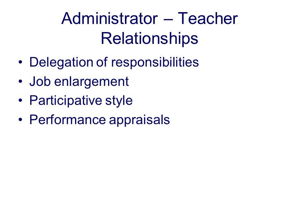 Administrator – Teacher Relationships
