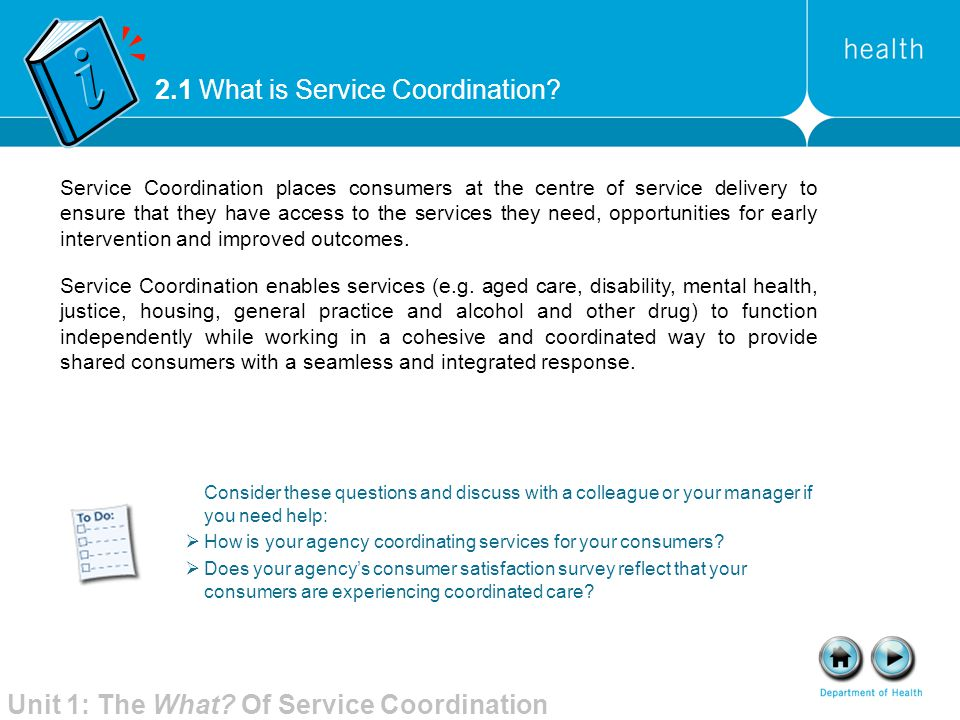 2.1 What is Service Coordination