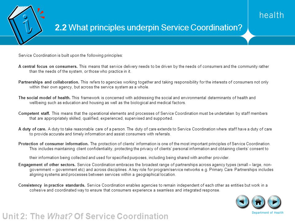 2.2 What principles underpin Service Coordination