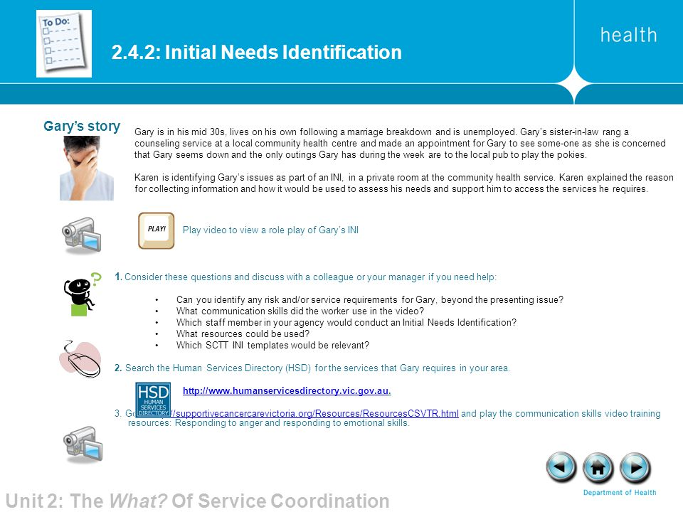 2.4.2: Initial Needs Identification