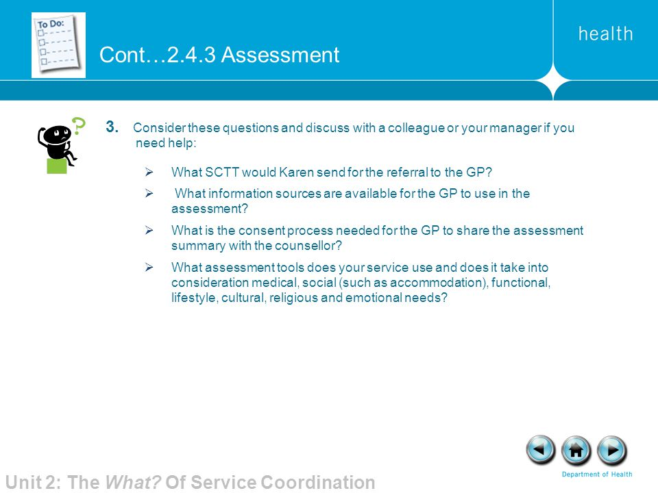 Cont…2.4.3 Assessment Unit 2: The What Of Service Coordination