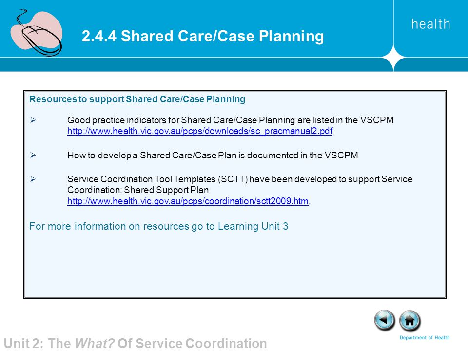 2.4.4 Shared Care/Case Planning