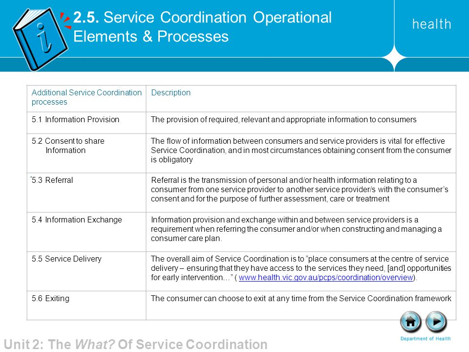 2.5. Service Coordination Operational Elements & Processes