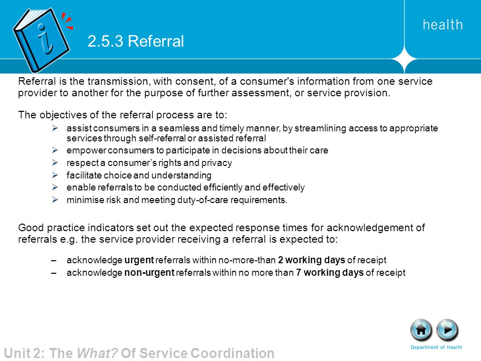2.5.3 Referral Unit 2: The What Of Service Coordination