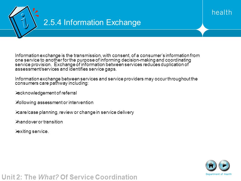 2.5.4 Information Exchange Unit 2: The What Of Service Coordination