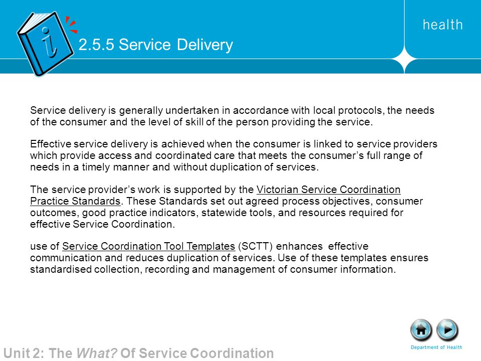 2.5.5 Service Delivery Unit 2: The What Of Service Coordination