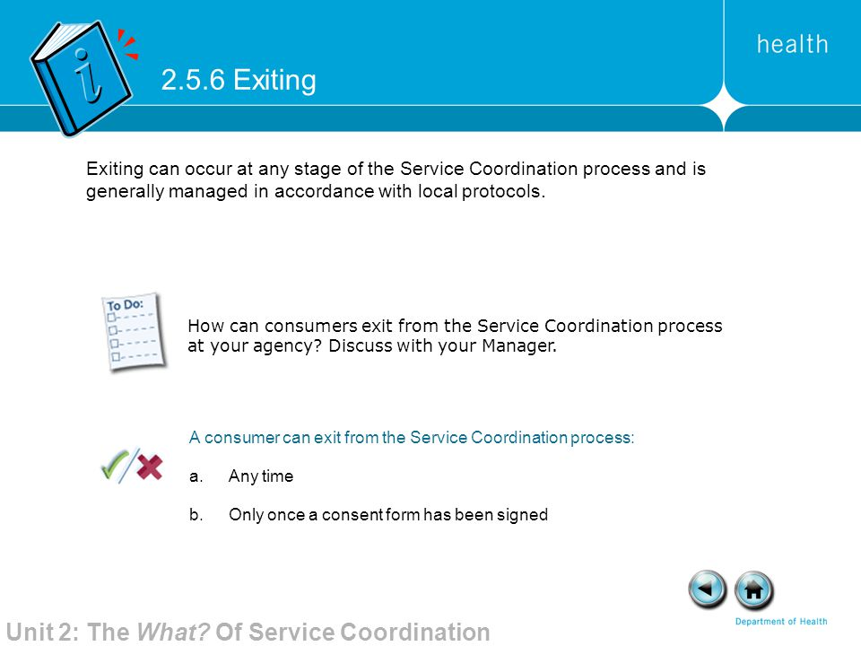 2.5.6 Exiting Unit 2: The What Of Service Coordination