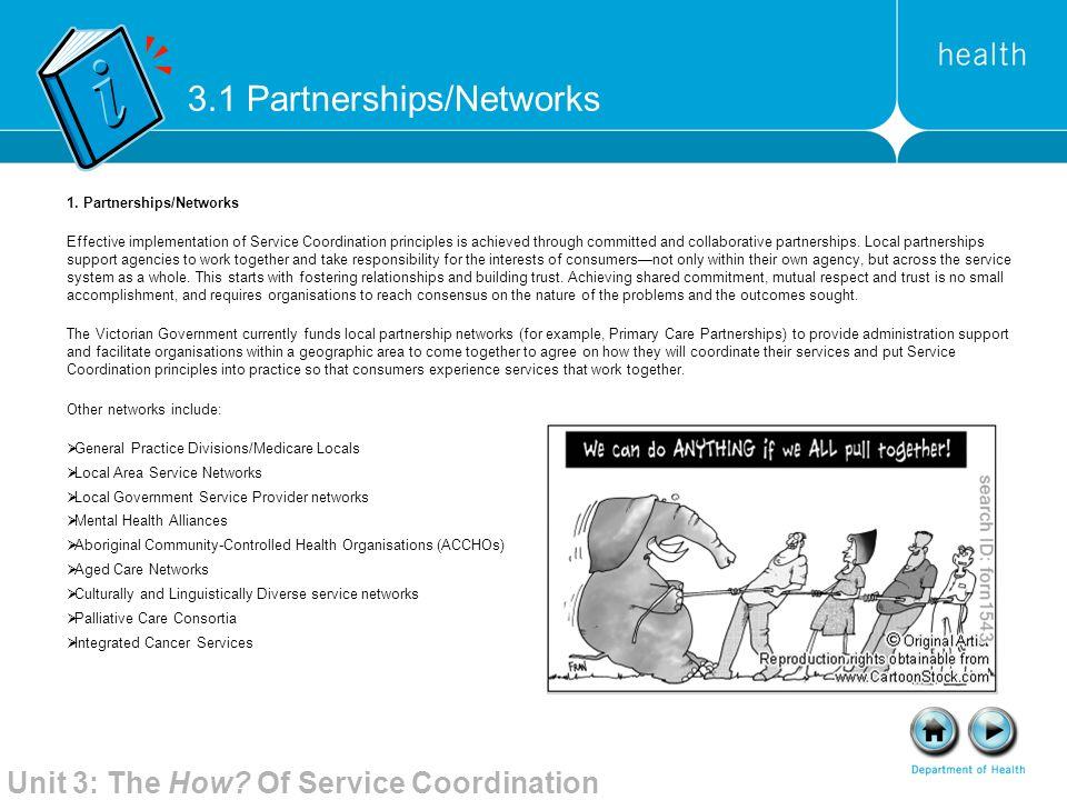 3.1 Partnerships/Networks