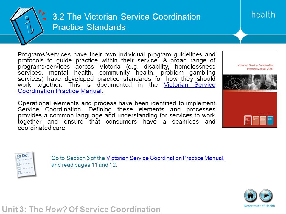 3.2 The Victorian Service Coordination Practice Standards