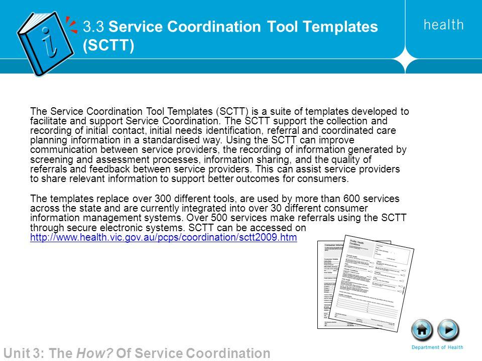 3.3 Service Coordination Tool Templates (SCTT)