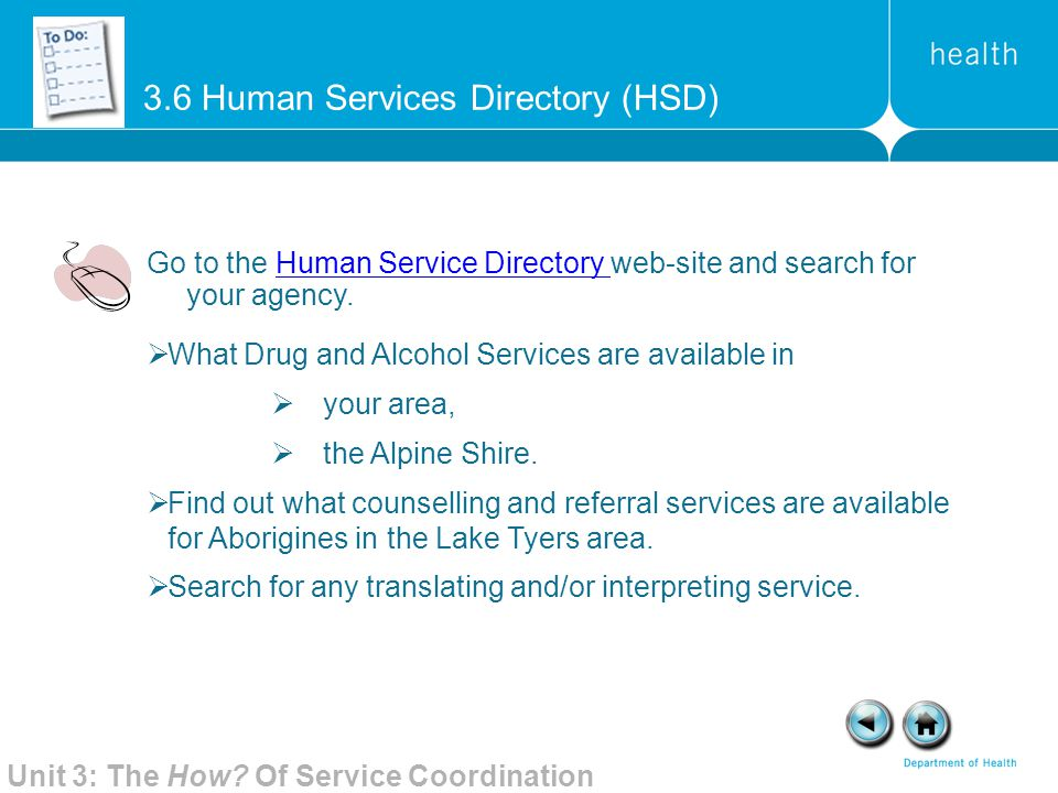 3.6 Human Services Directory (HSD)