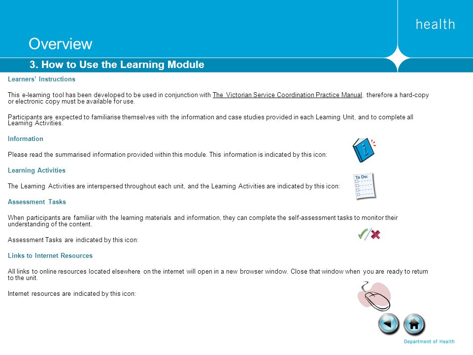 Overview 3. How to Use the Learning Module Learners' Instructions