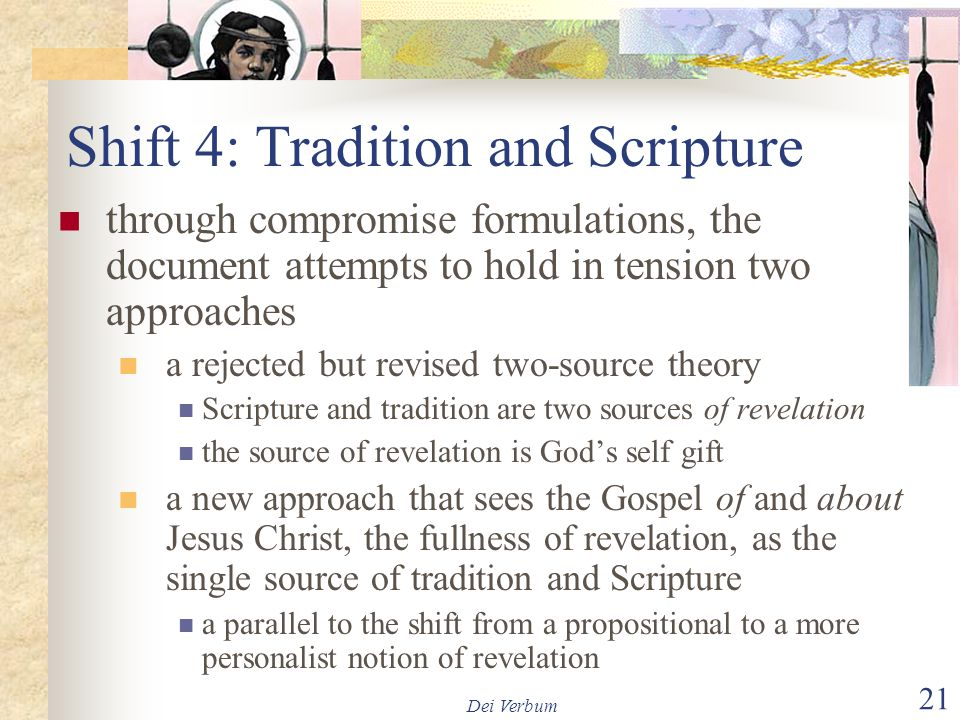 Shift 4: Tradition and Scripture