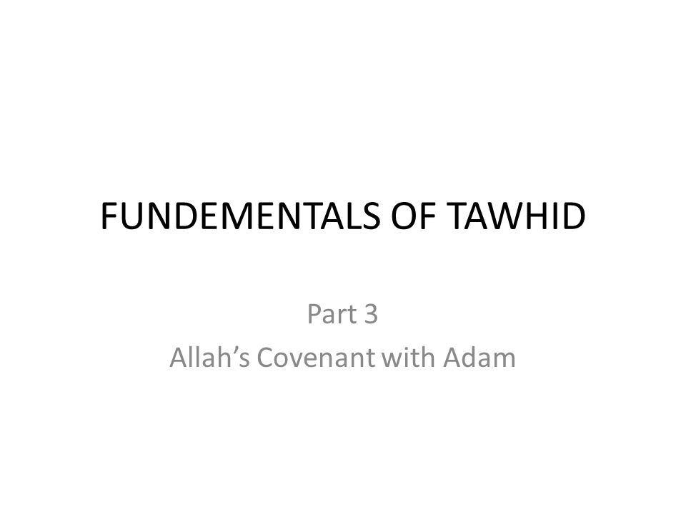 FUNDEMENTALS OF TAWHID