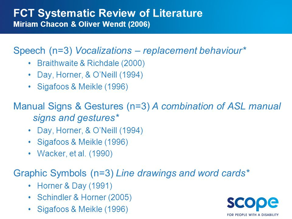 BoC 04.11.10 FCT Systematic Review of Literature Miriam Chacon & Oliver Wendt (2006) Speech (n=3) Vocalizations – replacement behaviour*