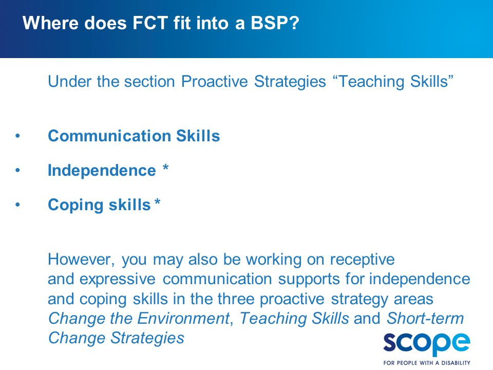 Where does FCT fit into a BSP