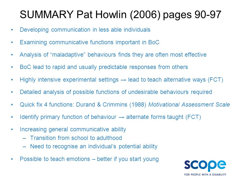 SUMMARY Pat Howlin (2006) pages 90-97