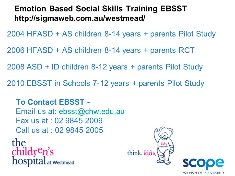 Emotion Based Social Skills Training EBSST http://sigmaweb. com