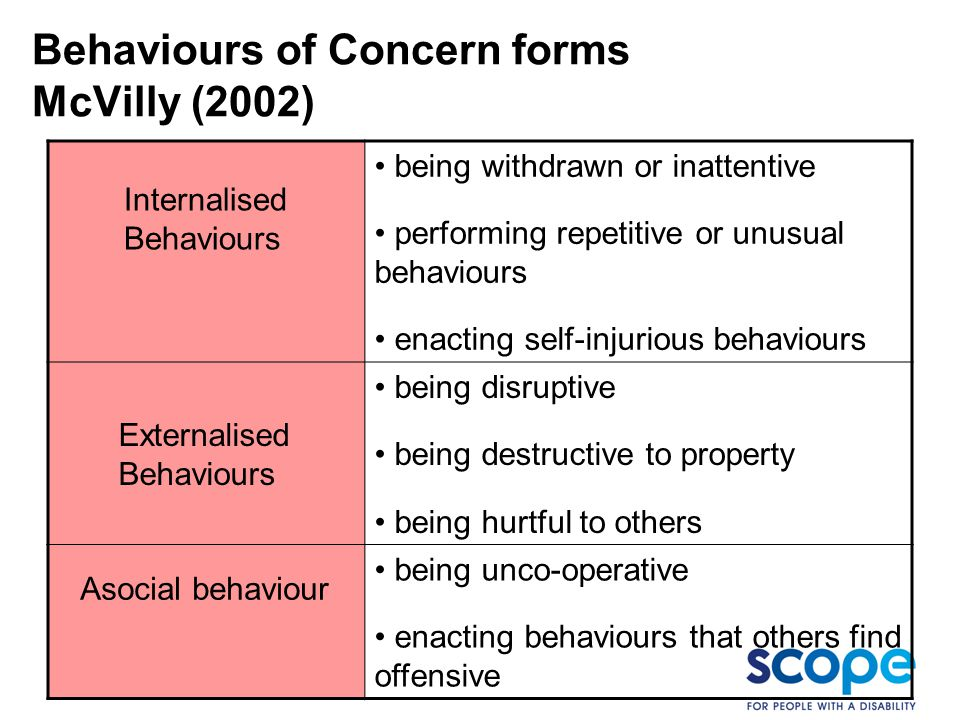 Behaviours of Concern forms McVilly (2002)