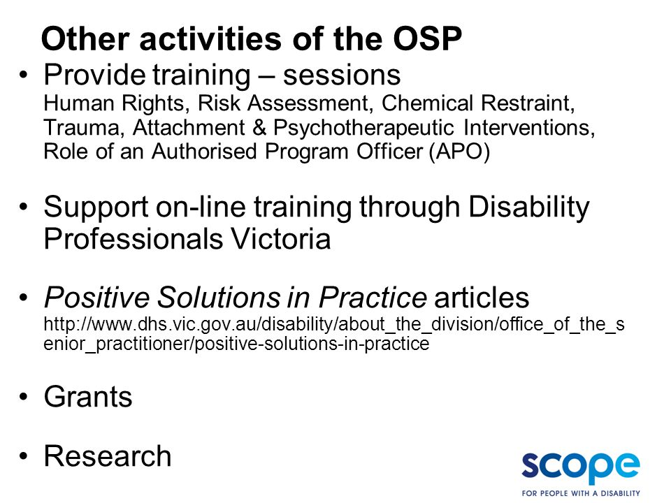 Other activities of the OSP