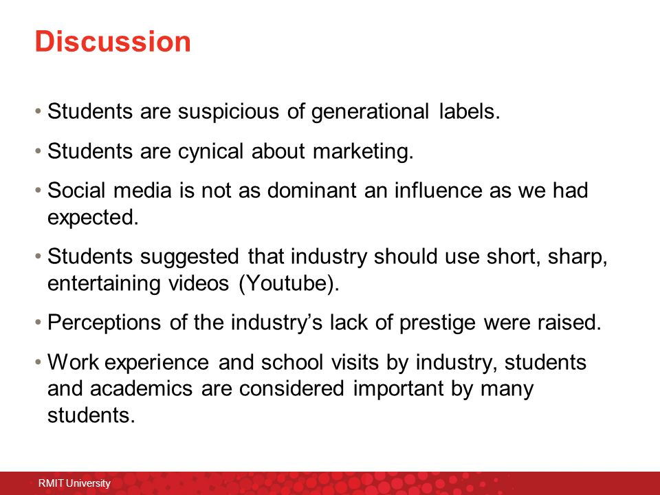 Discussion Students are suspicious of generational labels.
