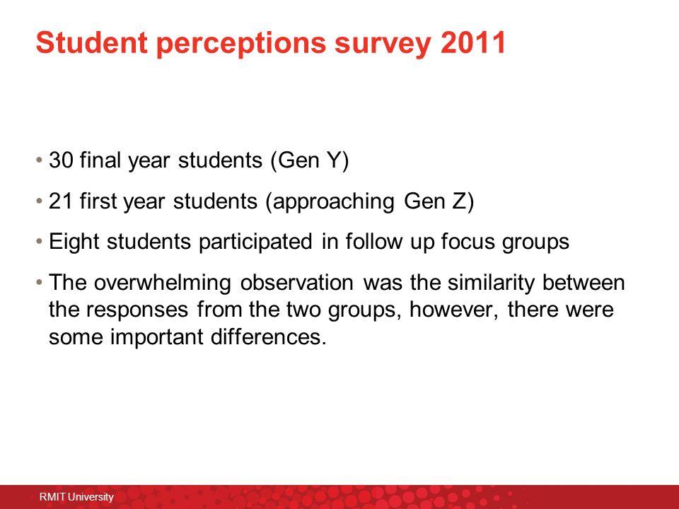 Student perceptions survey 2011