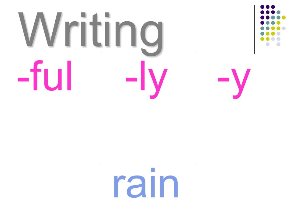 Writing -ful -ly -y rain