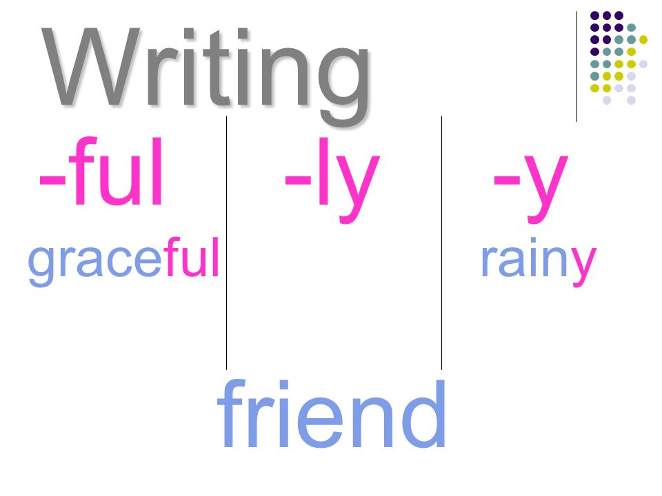 Writing -ful -ly -y graceful rainy friend