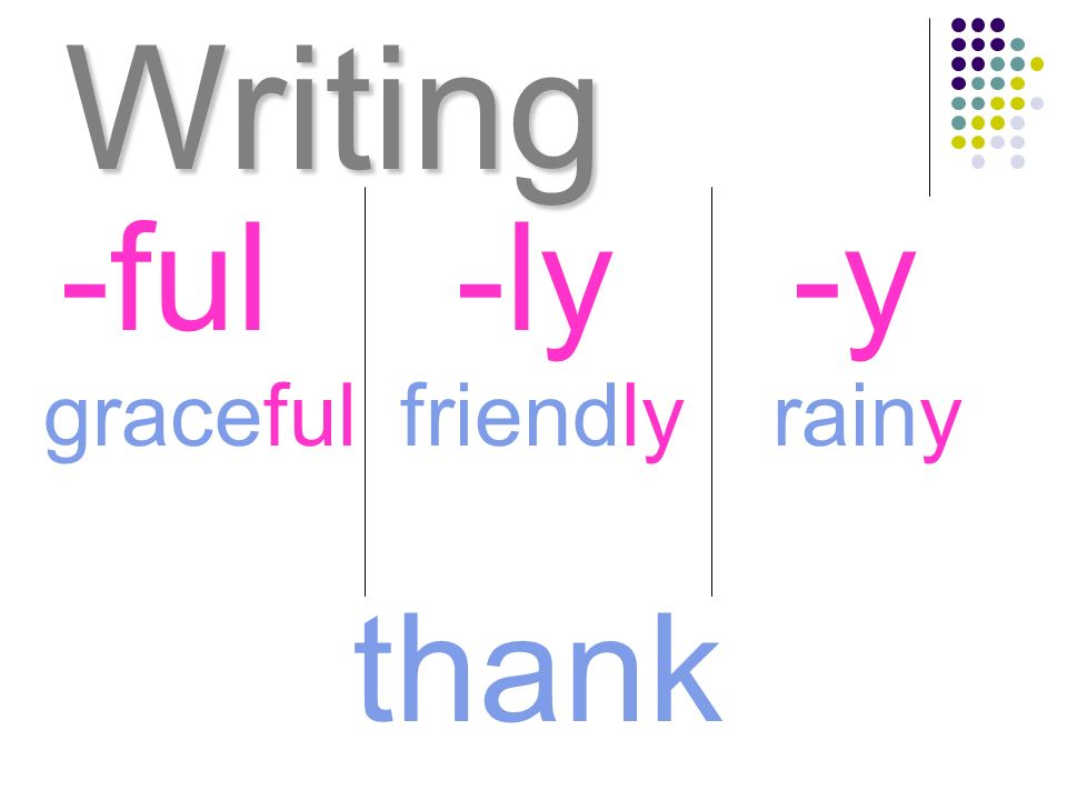 Writing -ful -ly -y graceful friendly rainy thank