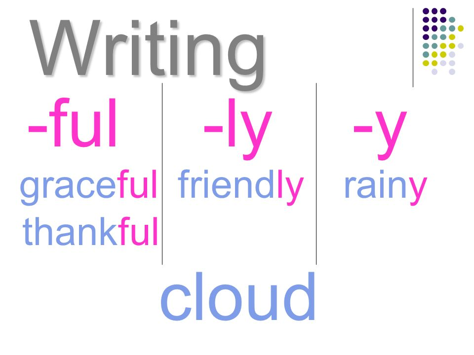 Writing -ful -ly -y graceful friendly rainy thankful cloud